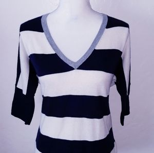 Gap White, Blue & Gray Striped Sweater